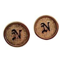 """Vintage Gold Filled Black Enameled Textured """"N"""" Monogrammed Cufflinks"""