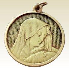 Vintage 18K Yellow Gold Mother Mary Virgin Mary Catholic Pendant