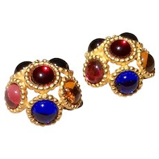 Vintage Large Gold Tone Multi Colored Clip Earrings