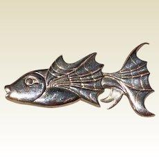 Vintage Sterling Silver Gold Fish Brooch