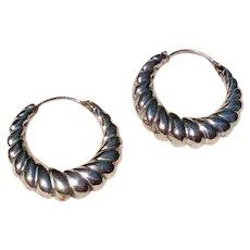 Vintage Sterling Silver Scalloped Hoop Earrings