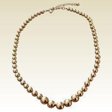 Vintage 12K Gold Filled Graduated Bead Necklace