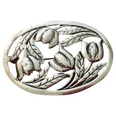Older Vintage Sterling Silver Oval Floral Brooch