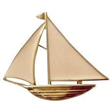 Vintage Trifari Gold Tone Metal Enameled Sailboat Brooch