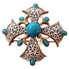 Vintage Crown Trifari Gold Tone Metal Faux Turquoise Maltese Cross