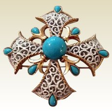 Vintage Crown Trifari Gold Tone Metal Faux Turquoise Maltese Cross