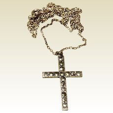 Vintage Sterling Silver Marcasite Cross  Chain