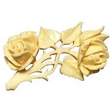 Victorian Hand Carved Bovine Rose Brooch