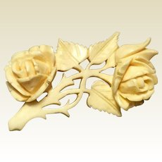 Victorian Hand Carved Bovine Rose Brooch