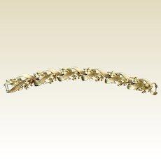 Vintage Lisner Two Tone Gold Metal Flexible Link Bracelet