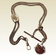 Antique Victorian Gold Filled Pocket Watch Chain With Slide & Fob Locket