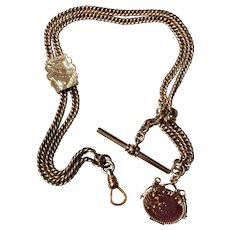 Gold Filled Pocket Watch Chain With Slide & Fob Locket
