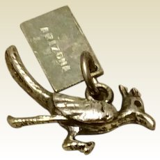 Vintage Sterling Silver Roadrunner Bird Charm With Arizona Hang Tag