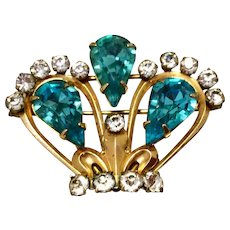 Vintage 12K Gold Filled Sparkling Rhinestone Van Dell Crown Brooch Pendant