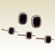 Vintage Sterling Silver Black Onyx Tuxedo Stud Set