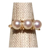 14K Gold Cultured Pearl Ring Size 6 1/2