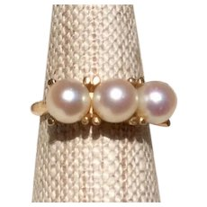 Vintage 14K Gold Cultured Pearl Ring Size 6 1/2