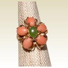 Vintage 14K Gold Coral & Jade Ring Size 6 1/2
