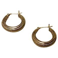 Vintage Textured Gold Tone Metal Hoop Earrings