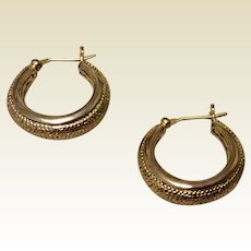 Vintage Textured Gold Tone Metal Hoop Earrings