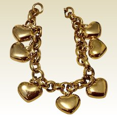 Vintage Gold Tone Metal Puffy Heart Bracelet 8 1/2""