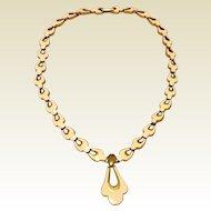 Vintage Gold Tone Metal Enameled Necklace