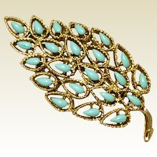 Vintage Gold  Tone Metal Faux Turquoise Brooch