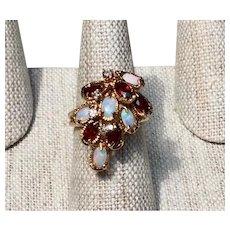 Vintage 14K Custom Diamond Opal & Garnet Ring Size 7 1/2