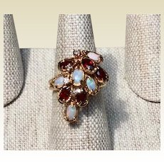 Vintage 14K Custom Diamond Opal & Garnet Ring Size 7 1/2
