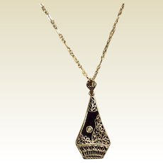 Vintage Art Deco Sterling Silver Filigree Black Onyx Diamond Pendant Necklace