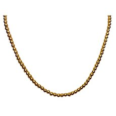 Vintage 14K Yellow Gold Bead Necklace