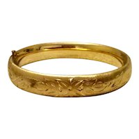 14K Gold Filled Satin Finish Hinged Bangle Bracelet