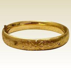 Vintage 14K Gold Filled Satin Finish Hinged Bangle Bracelet