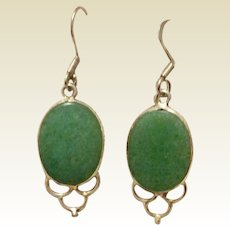 Vintage Sterling Silver Adventurine Dangle Earrings