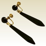 Victorian Gold Tone Metal Long Black Onyx Tear Drop Dangle Earrings
