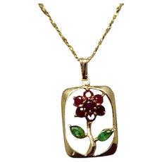 Vintage 14K Gold Genuine Ruby & Genuine Emerald Flower Pendant Necklace