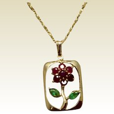 Vintage 14K Gold Genuine Ruby & Genuine Emerald Flower Pendant Necklace
