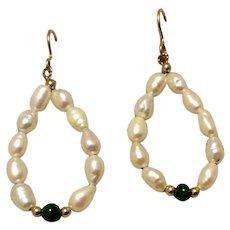 Vintage Handmade Cultured Freshwater Pearl Malachite & 14K Gold Bead Dangle Earrings