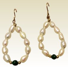 Vintage Handmade Freshwater Pearl Malachite Dangle Earrings