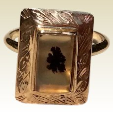Victorian 14K Gold Dendritic Agate / Moss Agate Conversion Stick Pin Ring Size 7