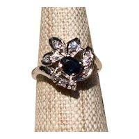 14K Gold Sapphire & Diamond Ring Size 7