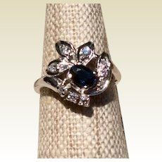 Vintage 14K White Gold Sapphire & Diamond Ring Size 7