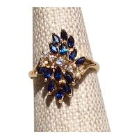 Natural Blue Sapphire & Diamond Ring 14K Size 6 1/2