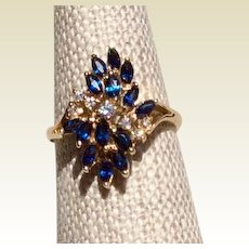 Vintage 14K Gold Natural Blue Sapphire & Diamond Ring Size 6 1/2