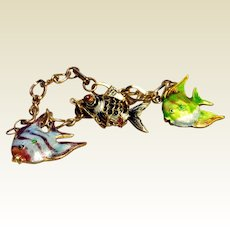 Vintage Gold Filled Bracelet With Cloisonné Enameled Fish