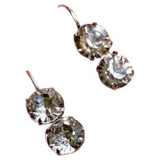 Upcycled Victorian Sparkling Clear Paste Drop Earrings