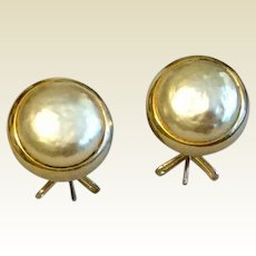 Vintage Gold Tone Metal Pearlized Wingback Earrings