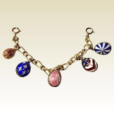 Sterling Silver Gold Vermeil Cloisonné Enameled Rhinestone Studded Egg Charm Bracelet