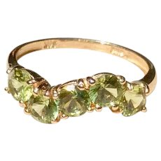 Vintage 14K White Gold Peridot Ring Size 6 1/2
