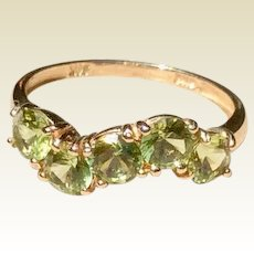 Vintage 14K White Gold Peridot Ring Size 6 1/2